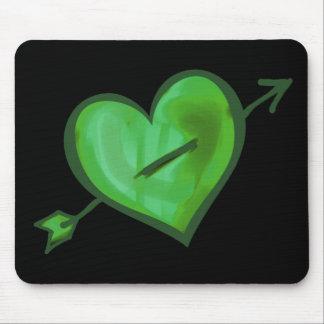 Alfombrilla De Ratón Corazón verde con la flecha