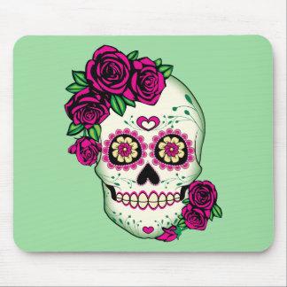Alfombrilla De Ratón Cráneo del azúcar con los rosas