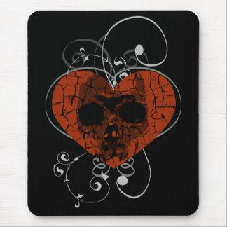 Alfombrilla De Ratón Cráneo gótico del corazón quebrado del Grunge