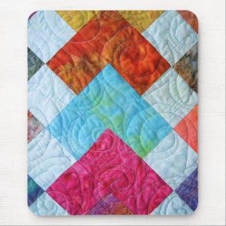 Alfombrilla De Ratón Cuadrados coloridos del edredón del batik