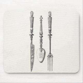 Alfombrilla De Ratón Cubiertos viejos de los cuchillos de la cuchara de