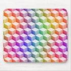 Alfombrilla De Ratón Cubos sombreados coloreados arco iris en colores