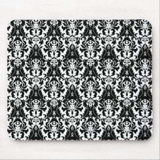 Alfombrilla De Ratón Damasco negro y blanco elegante