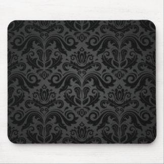 Alfombrilla De Ratón Damasco negro y gris del vintage
