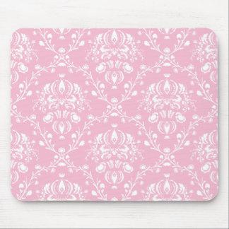 Alfombrilla De Ratón Damasco rosado y blanco