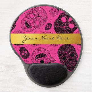 Alfombrilla De Ratón De Gel Cráneos rosados y negros elegantes del azúcar con