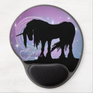Alfombrilla De Ratón De Gel El unicornio negro místico (remolino en colores