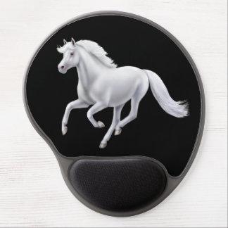 Alfombrilla De Ratón De Gel Gel galopante Mousepad del caballo blanco