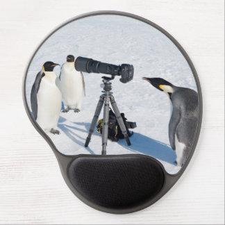 Alfombrilla De Ratón De Gel Pingüinos de emperador con la cámara - cojín de
