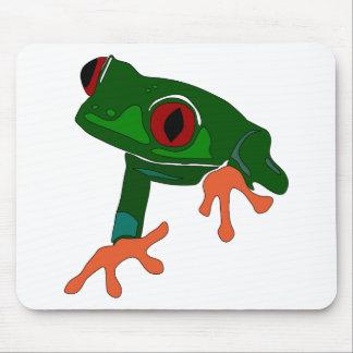 Alfombrilla De Ratón Dibujo animado de la rana verde