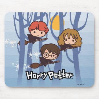 Alfombrilla De Ratón Dibujo animado Harry, Ron, y vuelo de Hermione en