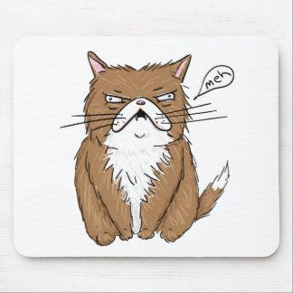 Alfombrilla De Ratón Dibujo gruñón divertido del gato de Meh