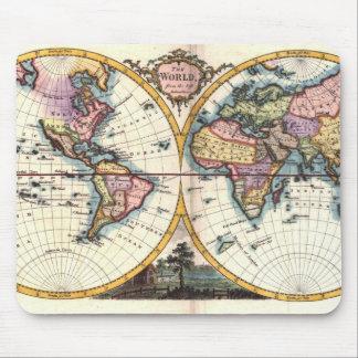 Alfombrilla De Ratón Dibujo viejo del ejemplo del mapa del mundo de la