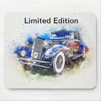 Alfombrilla De Ratón Diseño azul Mousepad del coche del vintage de la