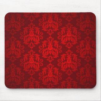 Alfombrilla De Ratón Diseño rojo de la impresión del modelo del damasco
