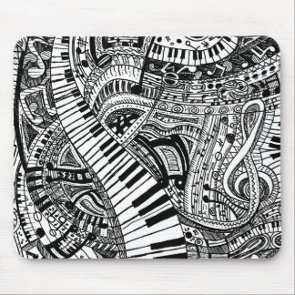Alfombrilla De Ratón Doodle de la música clásica con el teclado de