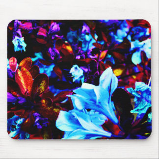 Alfombrilla De Ratón El jardín psicodélico florece Fuschia púrpura azul