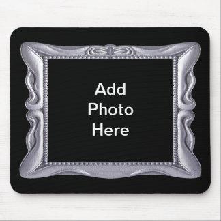 Alfombrilla De Ratón El marco de plata de lujo añade la foto aquí