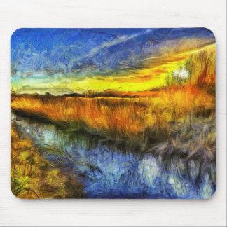 Alfombrilla De Ratón El río Van Gogh de la puesta del sol