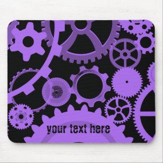 Alfombrilla De Ratón Engranajes púrpuras en negro