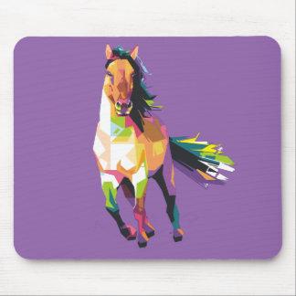 Alfombrilla De Ratón Equestrian corriente colorido del semental del