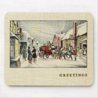 Alfombrilla De Ratón Escena de la ciudad del Victorian en el navidad