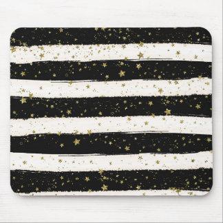 Alfombrilla De Ratón Estrellas blancas negras del brillo del oro de las