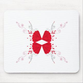 Alfombrilla De Ratón Ethno rojo del tatuaje de la alheña en blanco