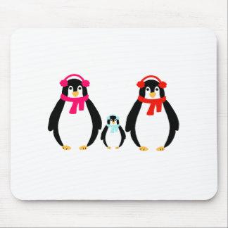 Alfombrilla De Ratón Familia linda del pingüino
