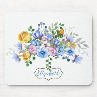 Alfombrilla De Ratón Floral azul bonito del pensamiento personalizado