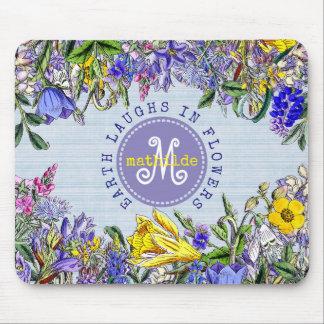Alfombrilla De Ratón Flores amarillas púrpuras del vintage de los