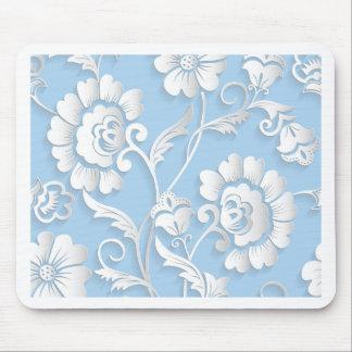 Alfombrilla De Ratón Flores blancas en azules cielos
