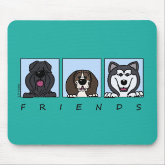 Alfombrilla De Ratón Friends: Bouvier, pachón & Alaskan Malamute,