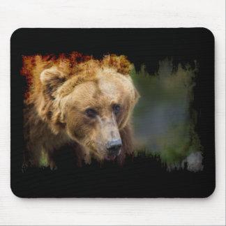 Alfombrilla De Ratón Frontera negra del Grunge del oso grizzly