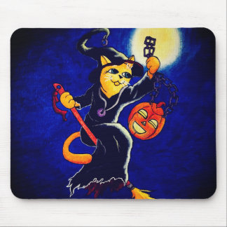 Alfombrilla De Ratón Gato de la bruja de la noche