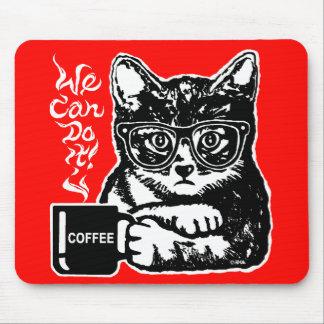 Alfombrilla De Ratón Gato divertido motivado por el café