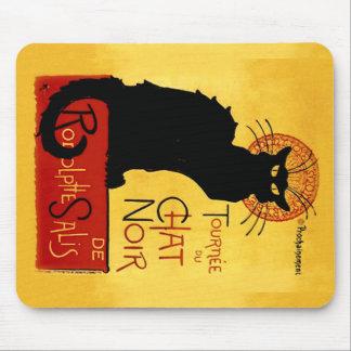 Alfombrilla De Ratón Gato negro Vintage Tournée du Chat Noir, Mousepad