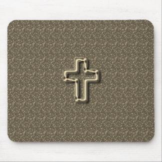 Alfombrilla De Ratón Gold-CROSS-Christian-Faith_Churches_Taupe