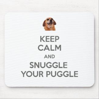 Alfombrilla De Ratón Guarde la calma y Snuggle su Puggle MOUSEPAD