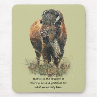 Alfombrilla De Ratón Guía animal del alcohol del tótem del bisonte del