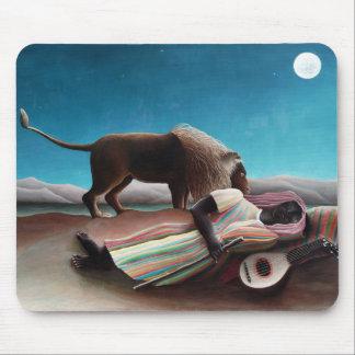 Alfombrilla De Ratón Henri Rousseau el vintage gitano el dormir