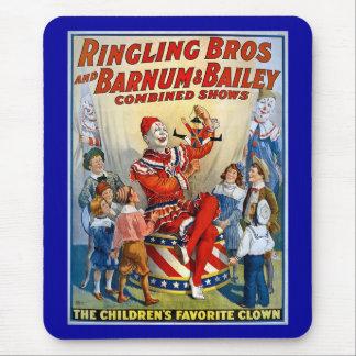 Alfombrilla De Ratón Hermanos de Ringling y Barnum y payaso del vintage