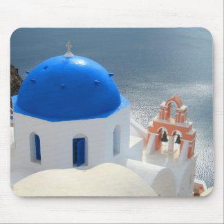 Alfombrilla De Ratón Iglesia de Santorini por la tarde Sun