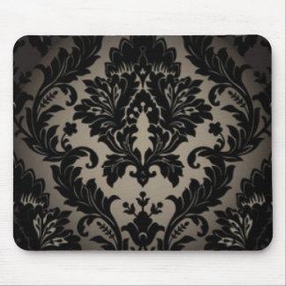 Alfombrilla De Ratón Impresión negra y gris del modelo del damasco