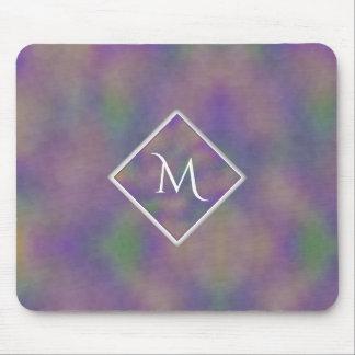 Alfombrilla De Ratón Inicial púrpura del oro de Majenta geométrica