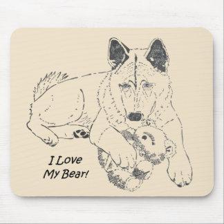 Alfombrilla De Ratón Japonés lindo Akita con arte del dibujo del oso de