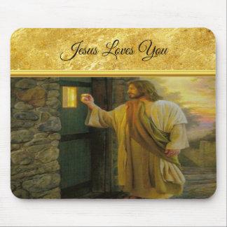 Alfombrilla De Ratón Jesús en su puerta con un diseño del efecto