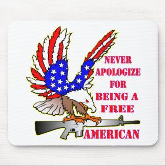 Alfombrilla De Ratón La bandera Eagle Ar-15 M16 nunca se disculpa por