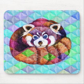 Alfombrilla De Ratón La panda roja refiere cubismo de la turquesa