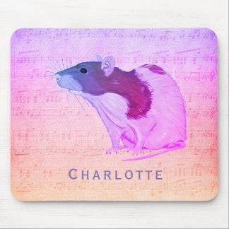 Alfombrilla De Ratón La rata rosada del mascota añade su rata conocida